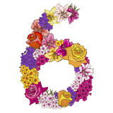 Six digit made of different flowers. Floral element of colorful alphabet made from flowers. Vector illustration Royalty Free Stock Photo