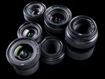 Six Digital Lenses Triangle pattern on black Stock Photo