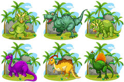 Six dinosaurs in the forest Stock Photos