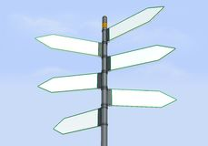 Six directional sign post. Detail of blank directional sign post Royalty Free Stock Photos