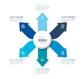Six directions blue arrows design diagram, chart, template, infographic. Vector Royalty Free Stock Image