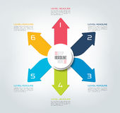 Six directions color arrows design diagram, chart, template, infographic. Royalty Free Stock Images