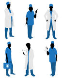 Six doctors silhouettes Royalty Free Stock Photo