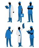 Six doctors in uniform Stock Photo