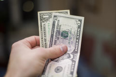 Six dollars in my hand Royalty Free Stock Images