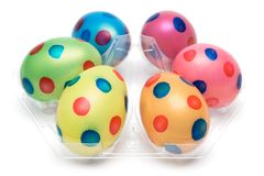 Six Dotted Easter Eggs Stock Photos