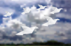 Six doves in land. Six paper doves in cloudy sky, low poly vector illustration, abstract background, vector landscape background Royalty Free Stock Photos
