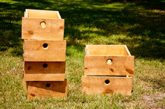Six Drawers. Six empty drawers sitting on grass Royalty Free Stock Image
