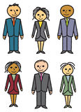 Six Drawn Business People. Three men and three women dressed in suits and business attire Royalty Free Stock Photography