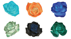 Six dull rose icons collection set (vector) Royalty Free Stock Photo