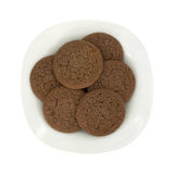 Six Dutch Cocoa Soft Cookies Stacked On Plate Royalty Free Stock Image