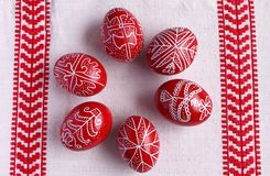 Six easter eggs. Six traditional hungarian easter eggs on table-cover Royalty Free Stock Image