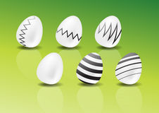 Six Easter eggs. The picture of simple decorated Easter eggs stock photography
