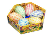 Six easter eggs in box Stock Photos