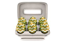 Six Easter Eggs In An Egg Carton stock image