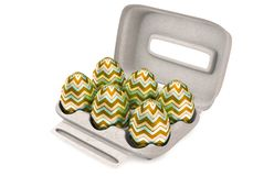 Six Easter Eggs In An Egg Carton royalty free stock images