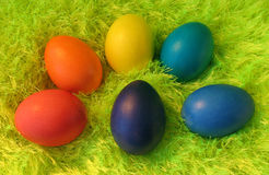 Six easter eggs on green shaggy carpet Stock Photography