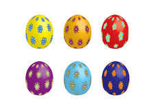 Six easter eggs, isolated. Six colorful easter eggs with flowers, vector Stock Images