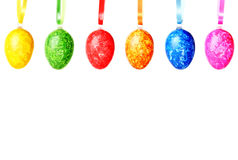 Six easter eggs in a row Royalty Free Stock Images