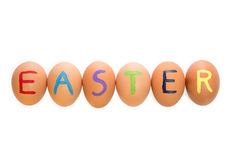 Six easter eggs in a row Royalty Free Stock Image
