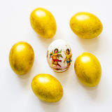 Six easter eggs on the table Royalty Free Stock Image