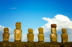Six Easter Island Moai. View of six Moai on Easter Island in Chile Stock Photography
