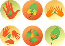 Six eco icons Royalty Free Stock Images