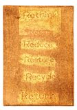 Six ecological phrases - rethink-Reuse-reduce-rest Stock Photography