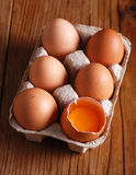 Six eggs in the container Royalty Free Stock Photo