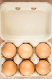 Six eggs in egg box Royalty Free Stock Image