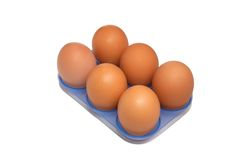 Six Eggs In The Blue Container. Royalty Free Stock Photography