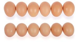 Six eggs in row Stock Photo