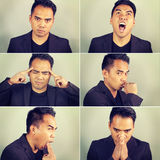 Six emotions of an Asian man Stock Photo
