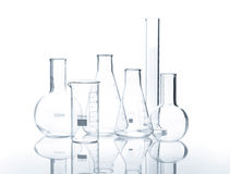 Six empty laboratory flacks Stock Image