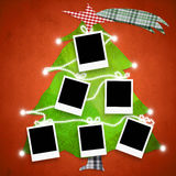 Six empty photo frames Christmas tree card Royalty Free Stock Photography