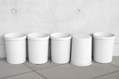 Six Empty Trash Cans Royalty Free Stock Photos