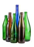 Six empty unlabeled bottles Royalty Free Stock Photography