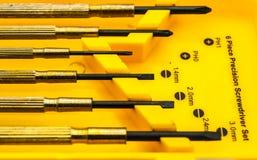 Six ensembles précis de tournevis de morceau Trousse d'outils Photo libre de droits