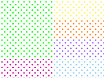 Six EPS8 White Background Swatches with Polka Dots Royalty Free Stock Photo