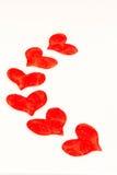 Six fabric hearts Stock Photos