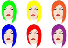 Six faces. Six isolated faces with colorful hair Royalty Free Stock Photos