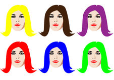 Six faces. Six isolated faces with colorful hair Royalty Free Stock Photography