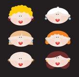 Six faces of cute women. Stock Photos