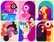 Six Faces / Six Persons vector illustration royalty free illustration