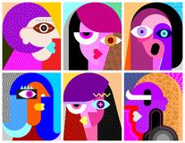 Six Faces vector illustration stock illustration