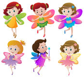 Six fairies with colorful wings Royalty Free Stock Images