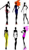 Six Fashion Girls Silhouette. Stock Image
