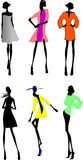 Six Fashion Girls Silhouette. Stock Photography