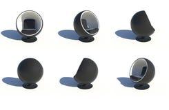 Six fauteuils noirs ronds élégants Photos stock