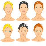 Six female faces generic mannequin Royalty Free Stock Photography
